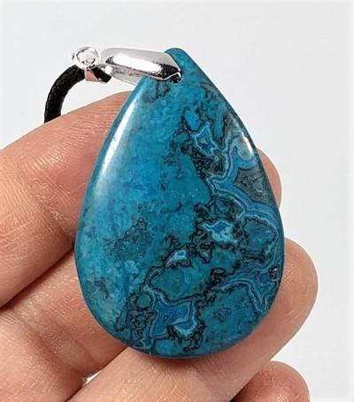 Blue Ripple Jasper Teardrop Pendant