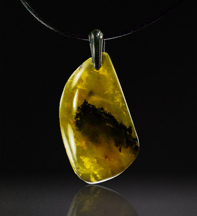Delicate Yellow Dendritic Chalcedony Pendant, 38x21x6mm, 33.8 cts