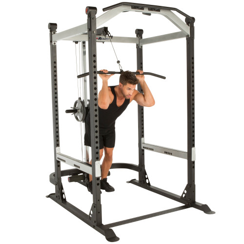FITNESS REALITY X-Class Light Commercial High Capacity Olympic Power Cage with Lat Pull Down and Low Row Cable Attachment