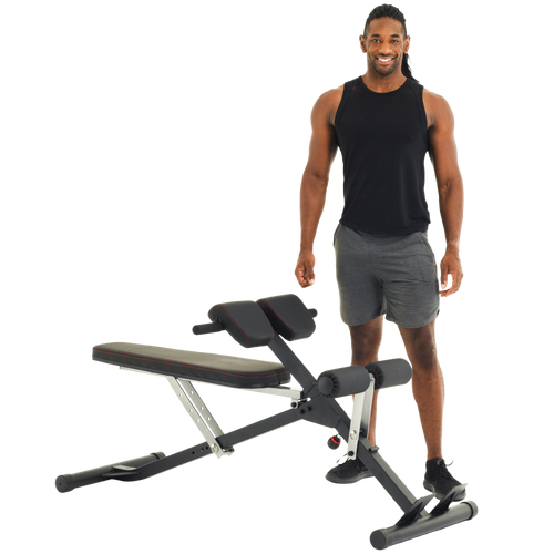 Fitness Reality Deluxe Multi-Workout Abdominal /Hyper Back Extension Bench with thick AIRSOFT thigh pads