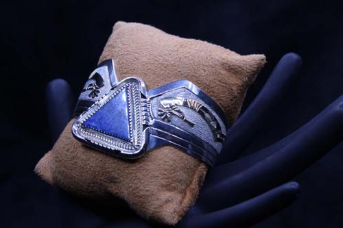 Sterling Silver & 12K Gold Denim Lapis Cuff Bracelet SS15730