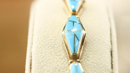 14K Gold Turquoise Link Bracelet SS15748