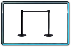 2 each Black Retractable Stanchions Connected Together