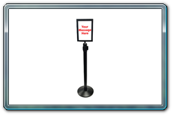 8½ x 11 Black Sign Frame on Black Retractable Belt Stanchion