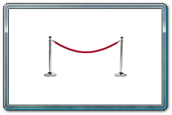 Dome Base Ball Top Chrome Rope Stanchions