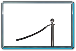 Black Braided Rope on Chrome Ball Top Stanchion