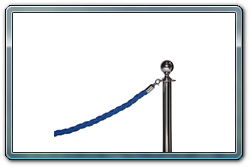 Blue Braided Rope on Chrome Ball Top Stanchion