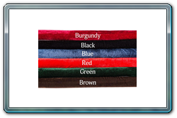 Available Colors of Velour Ropes