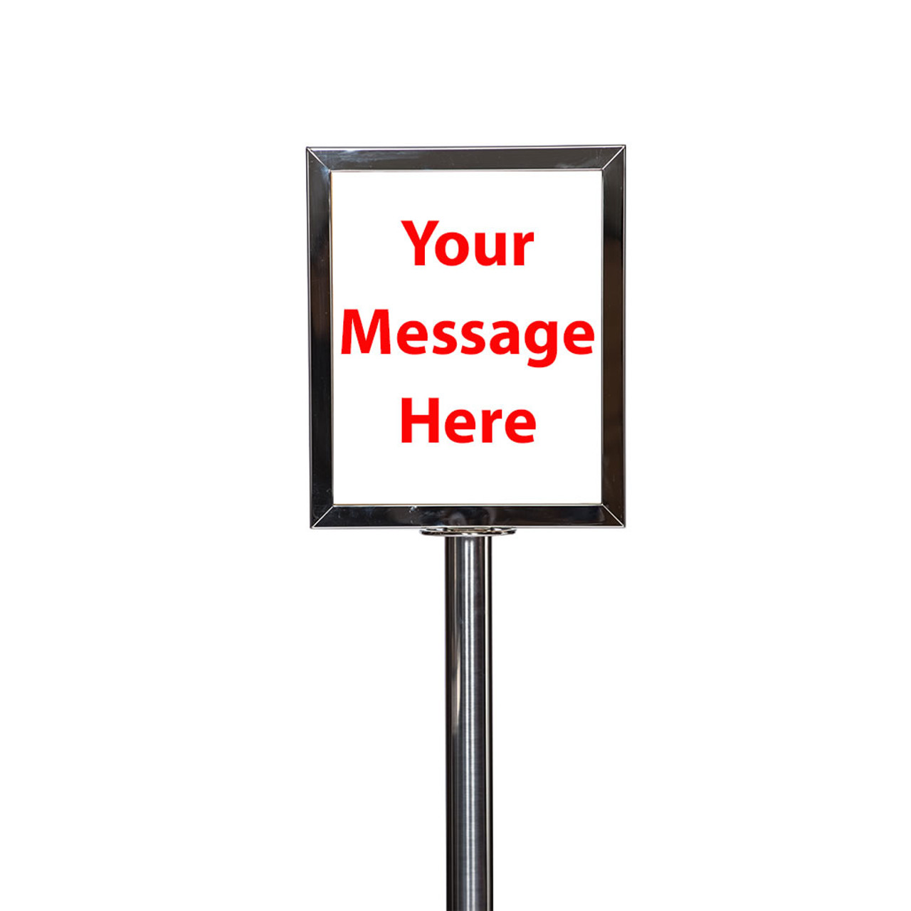 Top Rated Stainless 8 Inch X 11 Inch Vertical Sign With Plexiglas For Use With Chrome Rope Stanchions