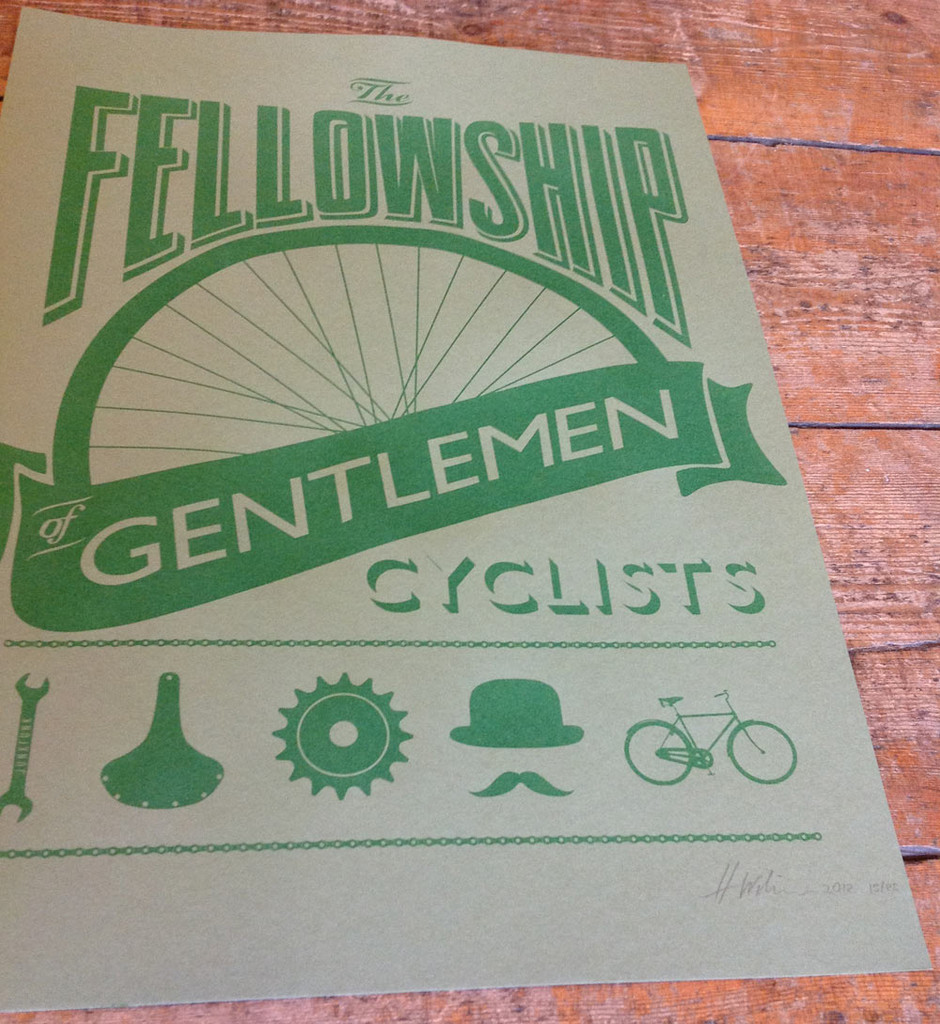 The Fellowship of Gentlemen cyclists screenprint-brown