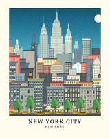 New York Skyline Art Print - 11x14
