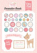 Hello Baby Girl Decorative Brads