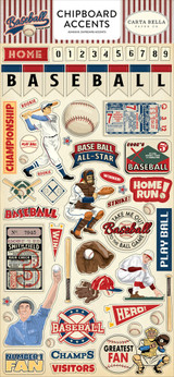 Baseball Chipboard Accents