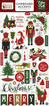 Here Comes Santa Clause Chipboard Accents