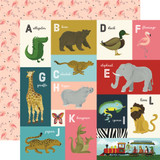 Animal Safari: A-L Animal Alphabet Cards 12x12 Patterned Paper