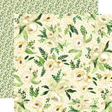 Botanical Garden: White Rose Spray 12x12 Patterned Paper
