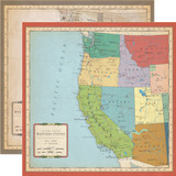 Cartography No. 1: US West Coast Map 12x12 Patterned Paper