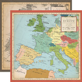 Cartography No. 1: Europe Map 12x12 Patterned Paper