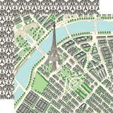 En Vogue: Map of Paris 12x12 Patterned Paper