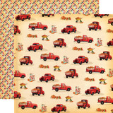 Fall Break: Pumpkin Trucks 12x12 Patterned Paper