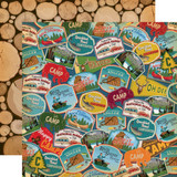 Gone Camping: Travel Patches 12x12 Patterned Paper