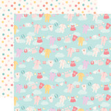 Hello Baby Girl: Girl Clothesline 12x12 Patterned Paper