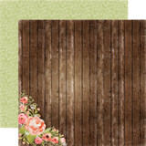 Rustic Elegance:  Wood Floral 12x12 Patterned Paper