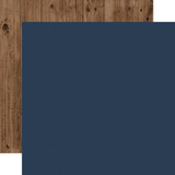 Warm & Cozy: Dark Blue/Woodgrain 12x12 Solid Paper