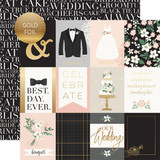 Wedding Day: 3x4 Journaling Cards - Gold Foiled 12x12 Patterned Paper