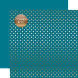 Dots & Stripes: Copper Foil Blue