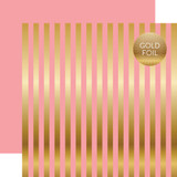 Dots & Stripes: Gold Foil Stripe Pink