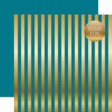 Dots & Stripes: Gold Foil Stripe Blue