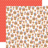 Oh Happy Day: Basket of Flowers 12x12 Patterned Paper