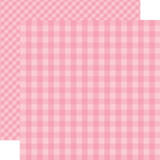 Dots & Stripes Gingham: Raspberry 12x12 Patterned Paper