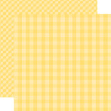 Dots & Stripes Gingham: Banana Cream 12x12 Patterned Paper
