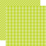 Dots & Stripes Gingham: Key Lime 12x12 Patterned Paper