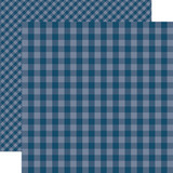 Dots & Stripes Gingham: Deep Blue Sea 12x12 Patterned Paper