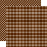 Dots & Stripes Gingham: Brown 12x12 Patterned Paper