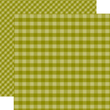 Dots & Stripes Gingham: Green 12x12 Patterned Paper