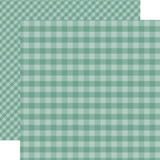 Dots & Stripes Gingham: Teal 12x12 Patterned Paper