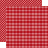 Dots & Stripes Gingham: Dark Red 12x12 Patterned Paper