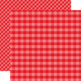 Dots & Stripes Gingham: Holly Berry 12x12 Patterned Paper