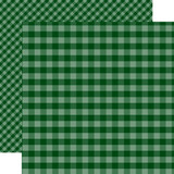 Dots & Stripes Gingham: Dark Green 12x12 Patterned Paper
