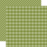 Dots & Stripes Gingham: Olive Green 12x12 Patterned Paper