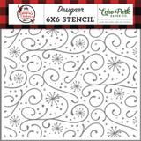 A Lumberjack Christmas: Snowy Flourish 6x6 Stencil