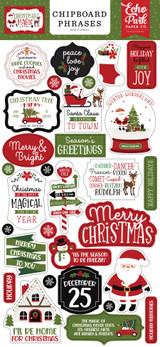 Christmas Magic 6x13 Chipboard Phrases