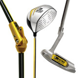Golf swing hinged devices