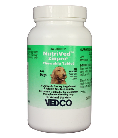 NutriVed Zinc & Methionine Chewable Tablets for Dogs (100 count)