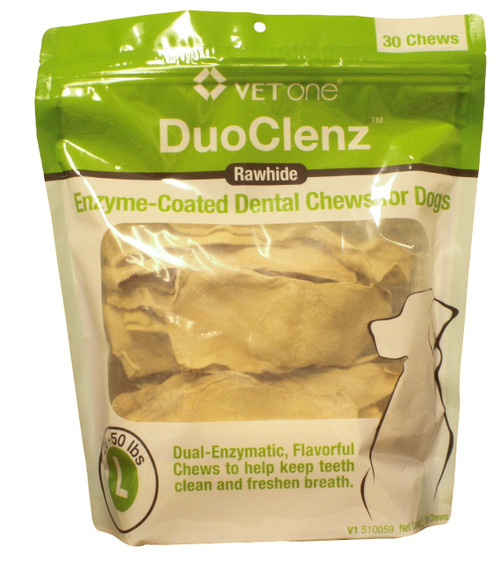 DuoClenz Rawhide Chews for Large Dogs [25-50 lbs] (30 count)