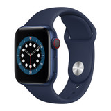 Apple Watch Series 6 (GPS + Cellular), 44mm Blue Aluminum Case with Deep Navy Sport Band